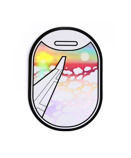 Airplane Window View Holographic Sticker