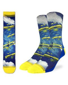 Yellow Bi-Plane Fighter Socks