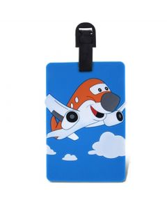 Red Smiling Airplane Luggage Tag