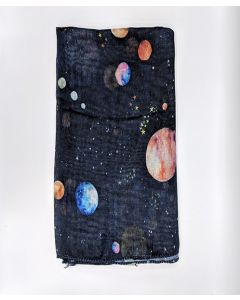 Planets and Stars Black Scarf