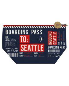 Navy Zippered Boarding Pass Pouch