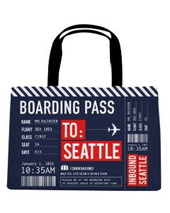 Navy Boarding Pass Tote Bag