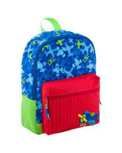 Airplane Quilted Rucksack blue all over pattern