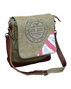 Air Mail Par Avion Canvas & Leather Messenger Bag