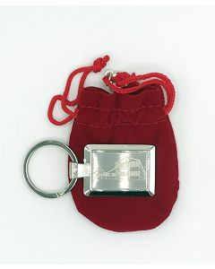 Red Barn Metal Laser Etched Keychain