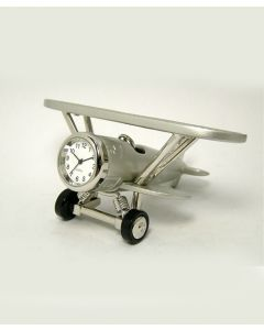 Silver Biplane Clock