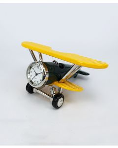 Yellow and Green Biplane Clock