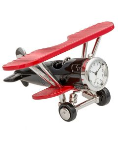Red and Black Biplane Clock