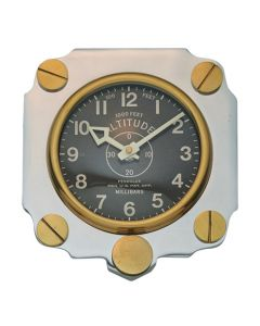 Retro Altimeter Silver Wall Clock