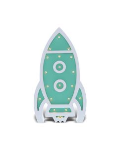 Blue Space Rocket Wall Light