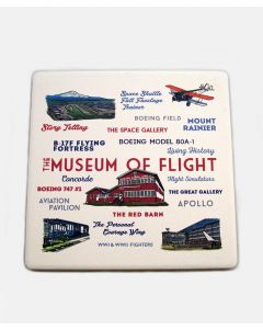 "Museum Typography & Icons 4"" Ceramic Coaster"