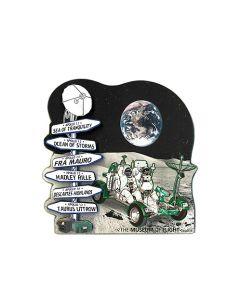 2D Wood Lunar Rover Signpost Magnet