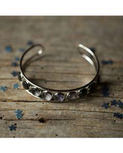 Moon Phase Silver Cuff Bracelet