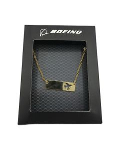 Boeing Airplane Cutout Bar Necklace