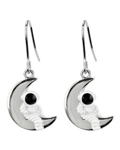 Enamel Astronaut on Crescent Moon earrrings