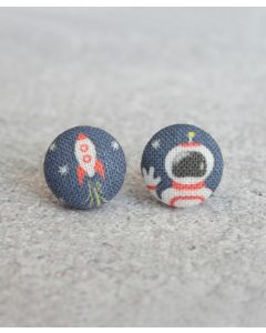 Space Man Fabric Button Earrings
