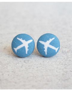 Airplane Fabric Button Earrings