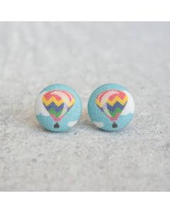 Hot Air Balloon Button Earrings