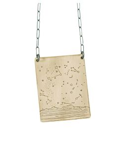 Summer Night Sky - Trees Brass Necklace