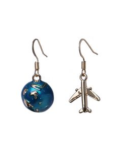 World Traveler Earth and Plane Drop Earrings