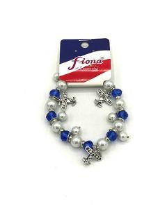 Blue Plane Glass Beaded Stretch Bracelet