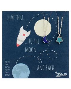 Love You To the Moon Best Friends necklace set