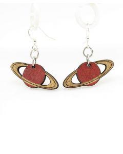 Red Saturn Wood Earrings