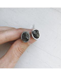 Raw Meteorite Oval Stud Earrings