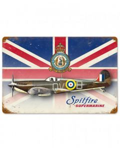 Union Jack Supermarine Spitfire Metal Sign