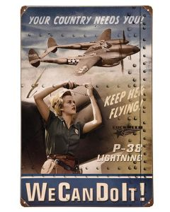 P-38 Lightning We Can Do It! Metal Sign