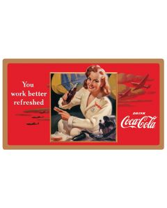 Coca-Cola Work Refreshed Embossed Tin Sign