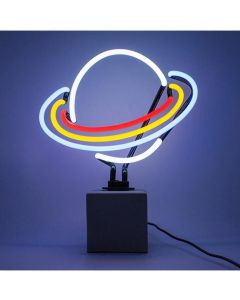 Neon Saturn Sign with Concrete Base