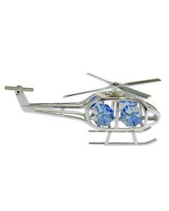 Silver Helicopter Crystal Ornament