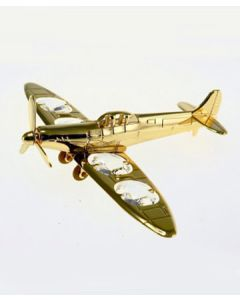 Gold Spitfire With Crystals Ornament