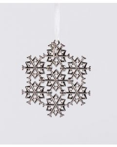 Boeing Silver Commercial Jet Snowflake Ornament