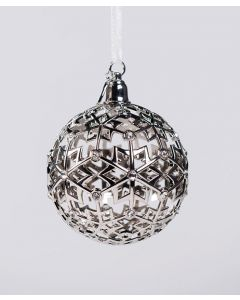 Boeing Silver Jet Snowflake  Ball Ornament