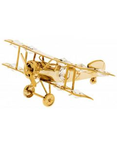 Gold Biplane with Crystals Ornament