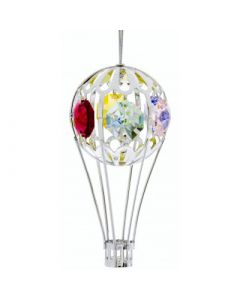 Silver Hot Air Balloon Ornament with Crystals