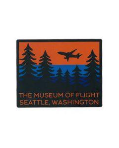 TMOF Jet Plane Flying Over Evergreen Trees Sticker