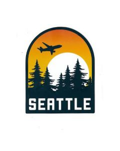 Seattle Jet Flying Over Sun and Evergreens Sticker