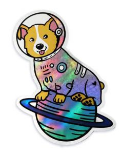 Space Corgi Astronaut Holographic Sticker