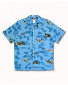 Blue WWII Planes and B-17 Hawaiian Shirt