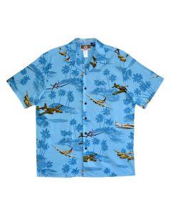 WWII Planes and B-17 Blue Hawaiian Shirt