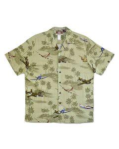 WWII Planes and B-17 Sage Hawaiian Shirt