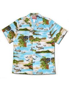 Islands and Fighters Turquoise Hawaiian Shirt