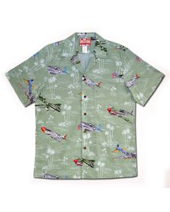 Bombers and Fighters Green Hawaiian Shirt